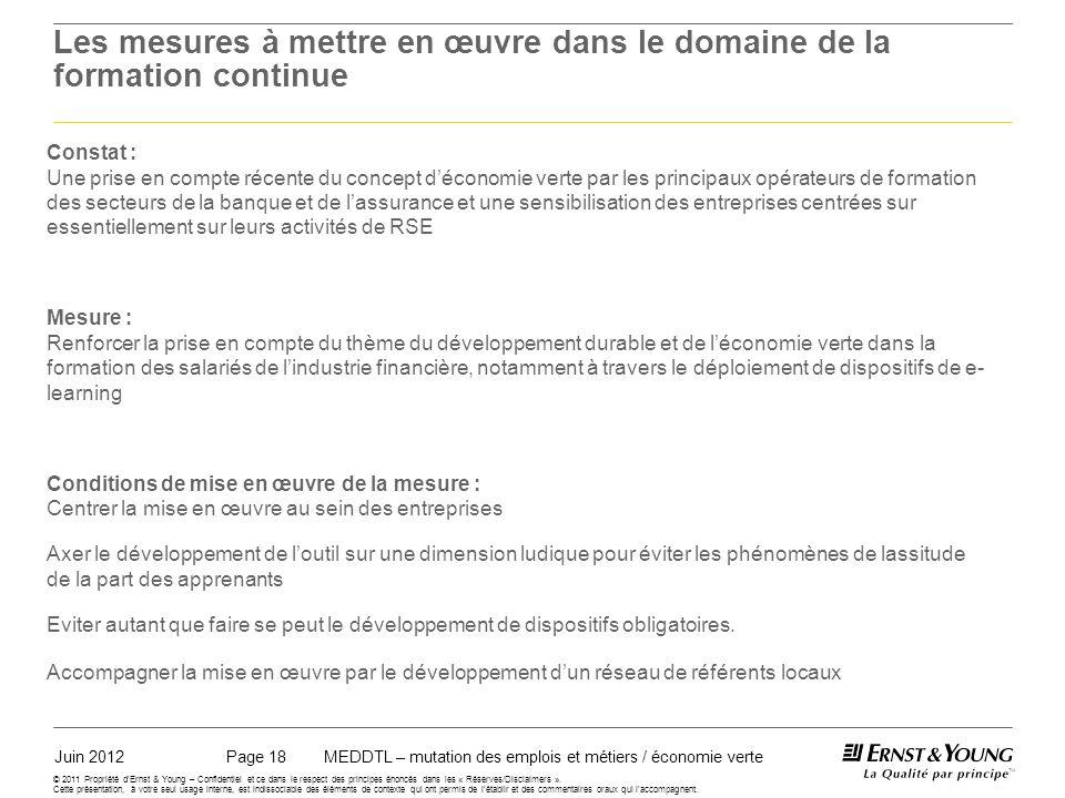 Juin 2012MEDDTL – mutation des emplois et métiers / économie vertePage 18 © 2011 Propriété dErnst & Young – Confidentiel et ce dans le respect des principes énoncés dans les « Réserves/Disclaimers ».