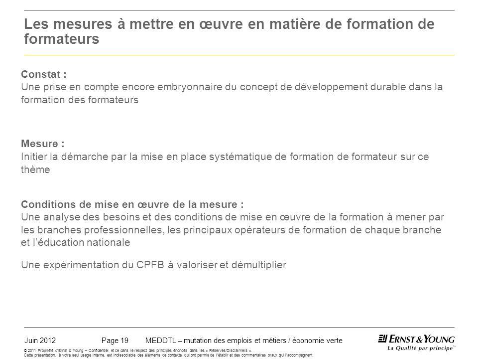 Juin 2012MEDDTL – mutation des emplois et métiers / économie vertePage 19 © 2011 Propriété dErnst & Young – Confidentiel et ce dans le respect des principes énoncés dans les « Réserves/Disclaimers ».