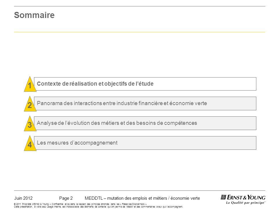 Juin 2012MEDDTL – mutation des emplois et métiers / économie vertePage 2 © 2011 Propriété dErnst & Young – Confidentiel et ce dans le respect des principes énoncés dans les « Réserves/Disclaimers ».