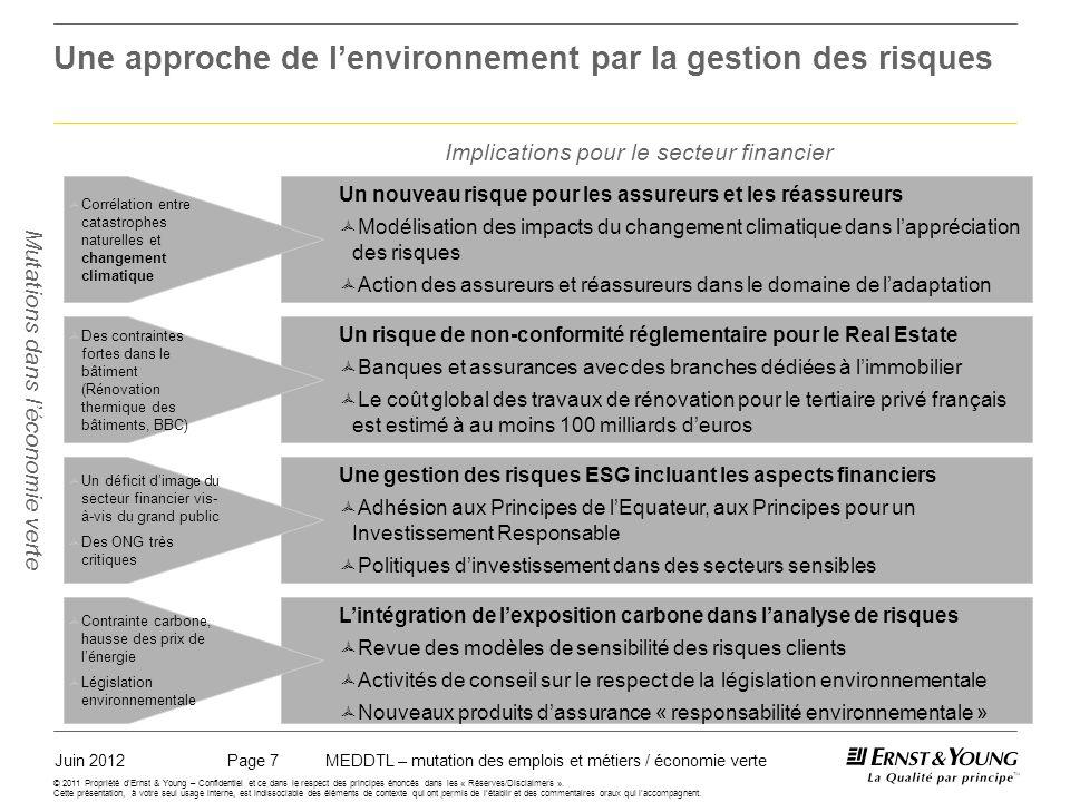 Juin 2012MEDDTL – mutation des emplois et métiers / économie vertePage 7 © 2011 Propriété dErnst & Young – Confidentiel et ce dans le respect des principes énoncés dans les « Réserves/Disclaimers ».