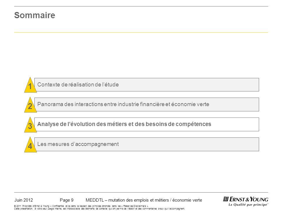 Juin 2012MEDDTL – mutation des emplois et métiers / économie vertePage 9 © 2011 Propriété dErnst & Young – Confidentiel et ce dans le respect des principes énoncés dans les « Réserves/Disclaimers ».