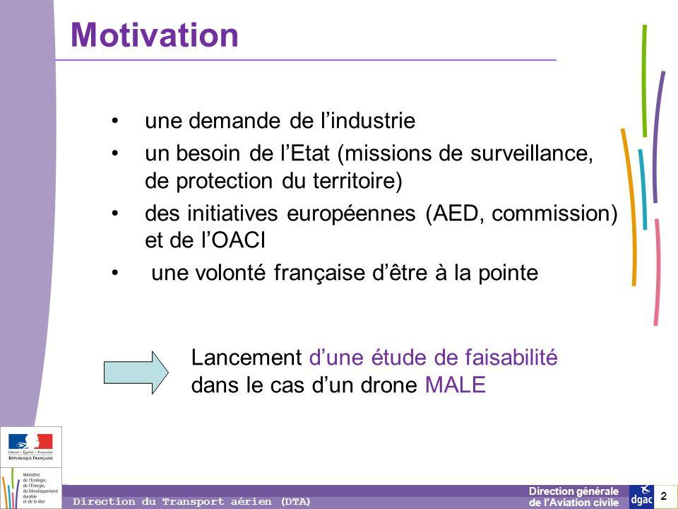 2 2 2 Direction générale de lAviation civile Direction du Transport aérien (DTA) Motivation une demande de lindustrie un besoin de lEtat (missions de