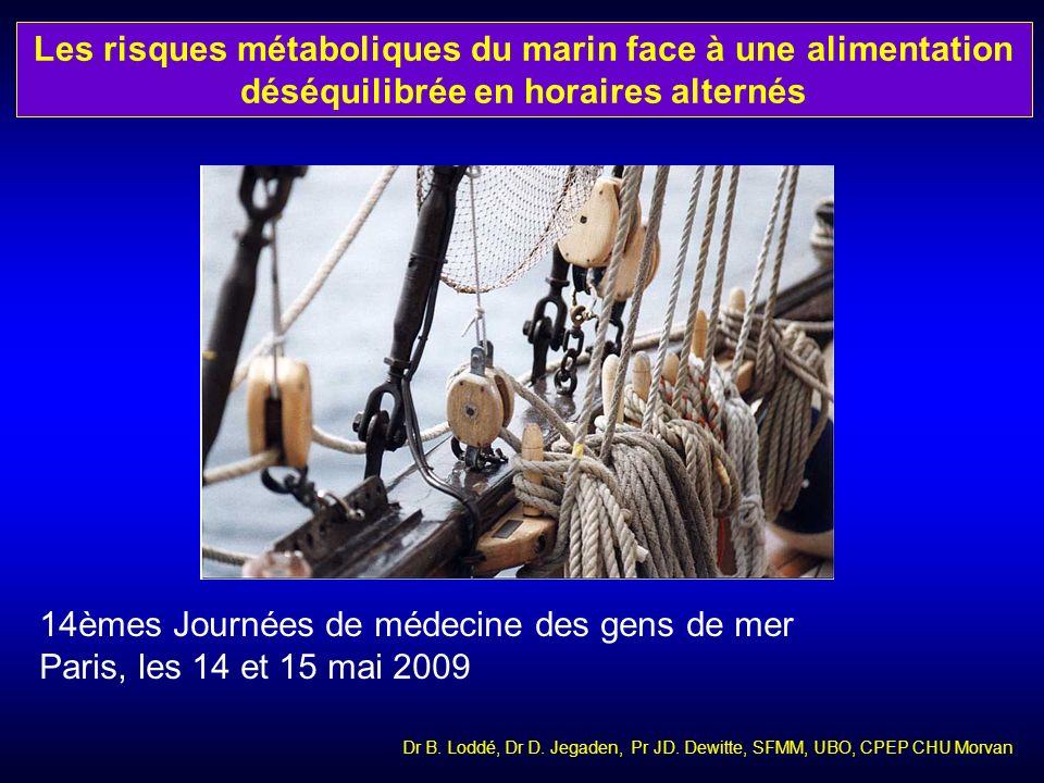 Dr B. Loddé, Dr D. Jegaden, Pr JD. Dewitte, SFMM, UBO, CPEP CHU Morvan Les risques métaboliques du marin face à une alimentation déséquilibrée en hora