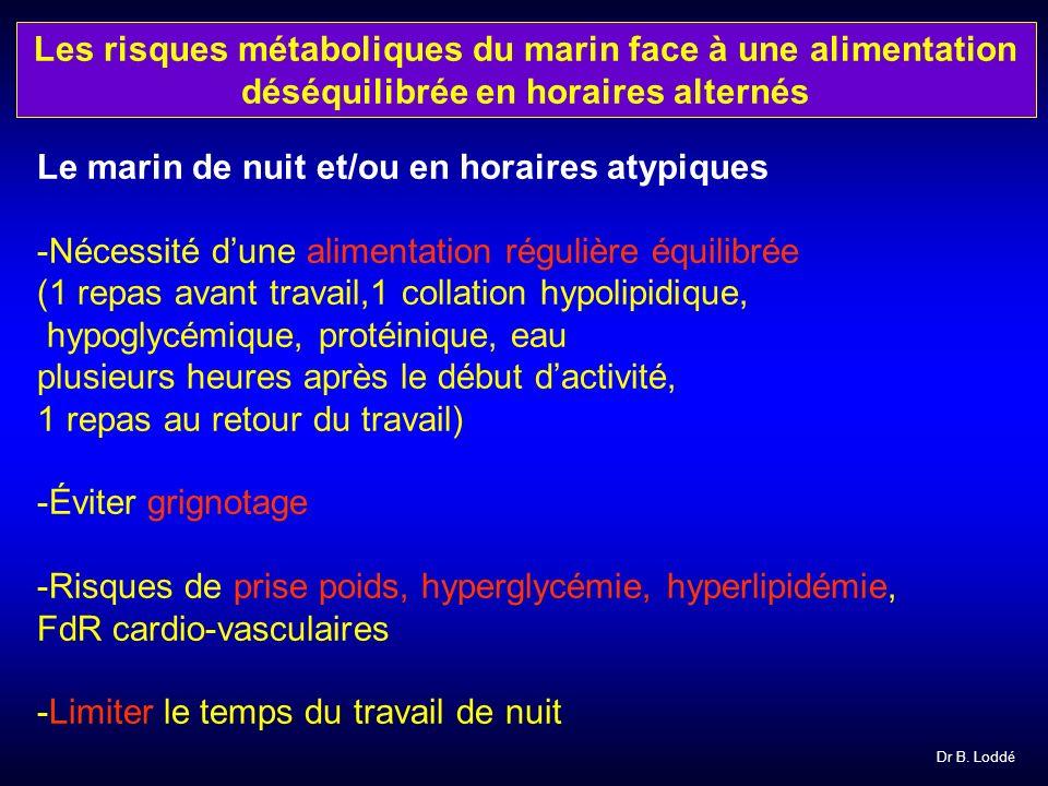Dr B. Loddé Le marin de nuit et/ou en horaires atypiques -Nécessité dune alimentation régulière équilibrée (1 repas avant travail,1 collation hypolipi