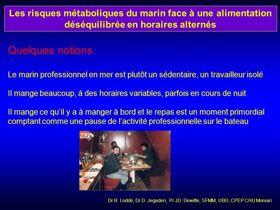 Dr B. Loddé, Dr D. Jegaden, Pr JD. Dewitte, SFMM, UBO, CPEP CHU Morvan Quelques notions Le marin professionnel en mer est plutôt un sédentaire, un tra