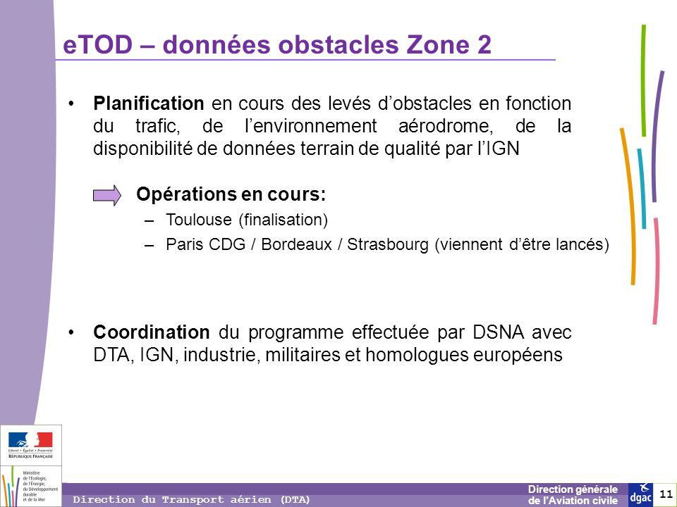 12 1212 Direction générale de lAviation civile Direction du Transport aérien (DTA) eTOD – Zone 3 Exigences Annexe 15 : il est recommandé de rendre disponible les données terrain et obstacles (de plus de 0.5 m) en zone 3.