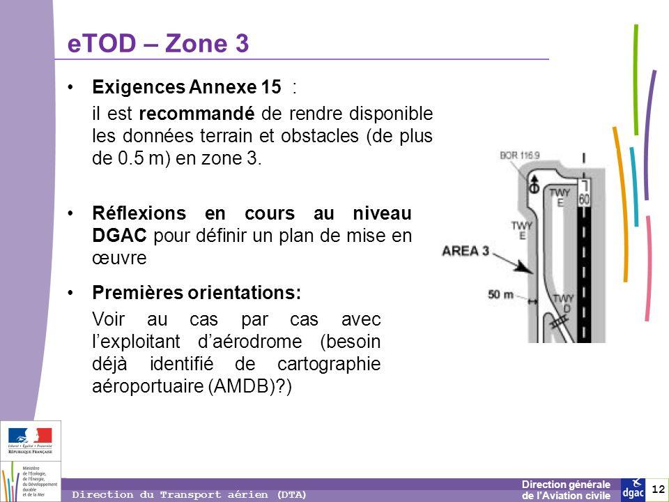 13 1313 Direction générale de lAviation civile Direction du Transport aérien (DTA) eTOD – Zone 4 Exigences Annexe 15 : données terrain et obstacles doivent être disponibles depuis novembre 2008 pour cette zone 4 pour les terrains Cat II/III.