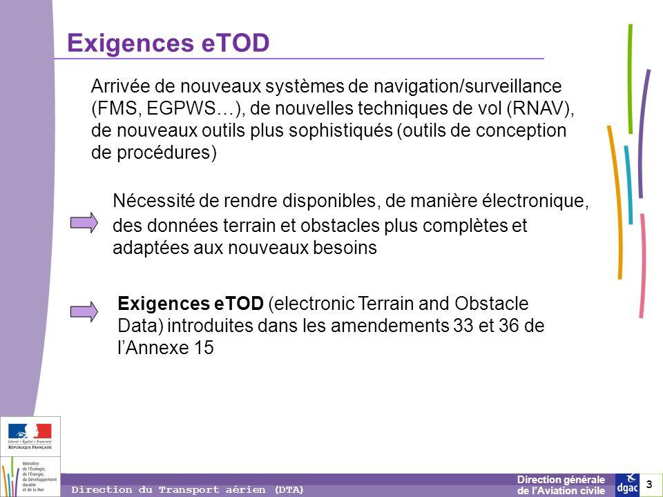 4 4 4 Direction générale de lAviation civile Direction du Transport aérien (DTA) eTOD – applications envisagées systèmes EGPWS et MSAW détermination des procédures durgence (ex.