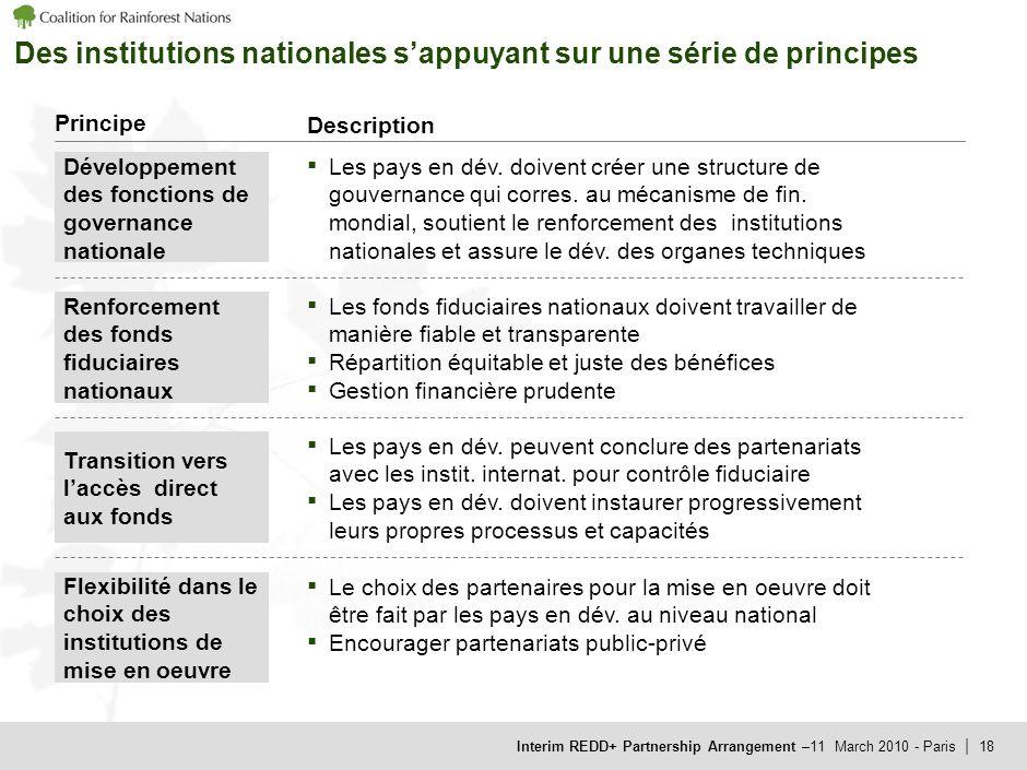 Interim REDD+ Partnership Arrangement –11 March 2010 - Paris | 18 Des institutions nationales sappuyant sur une série de principes Principe Description Le choix des partenaires pour la mise en oeuvre doit être fait par les pays en dév.
