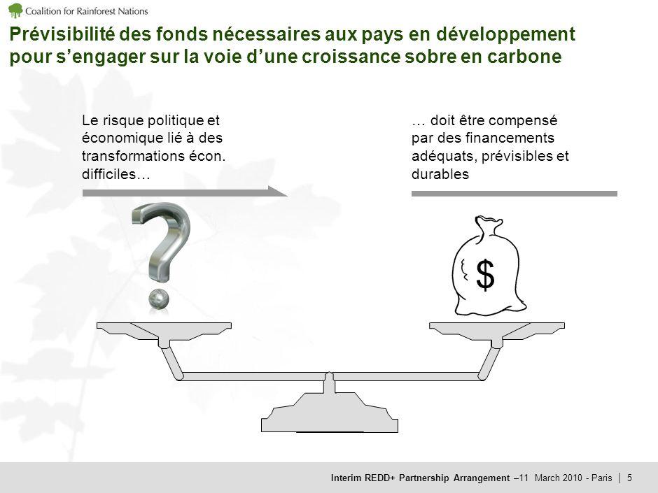 Interim REDD+ Partnership Arrangement –11 March 2010 - Paris | 5 Prévisibilité des fonds nécessaires aux pays en développement pour sengager sur la voie dune croissance sobre en carbone Le risque politique et économique lié à des transformations écon.