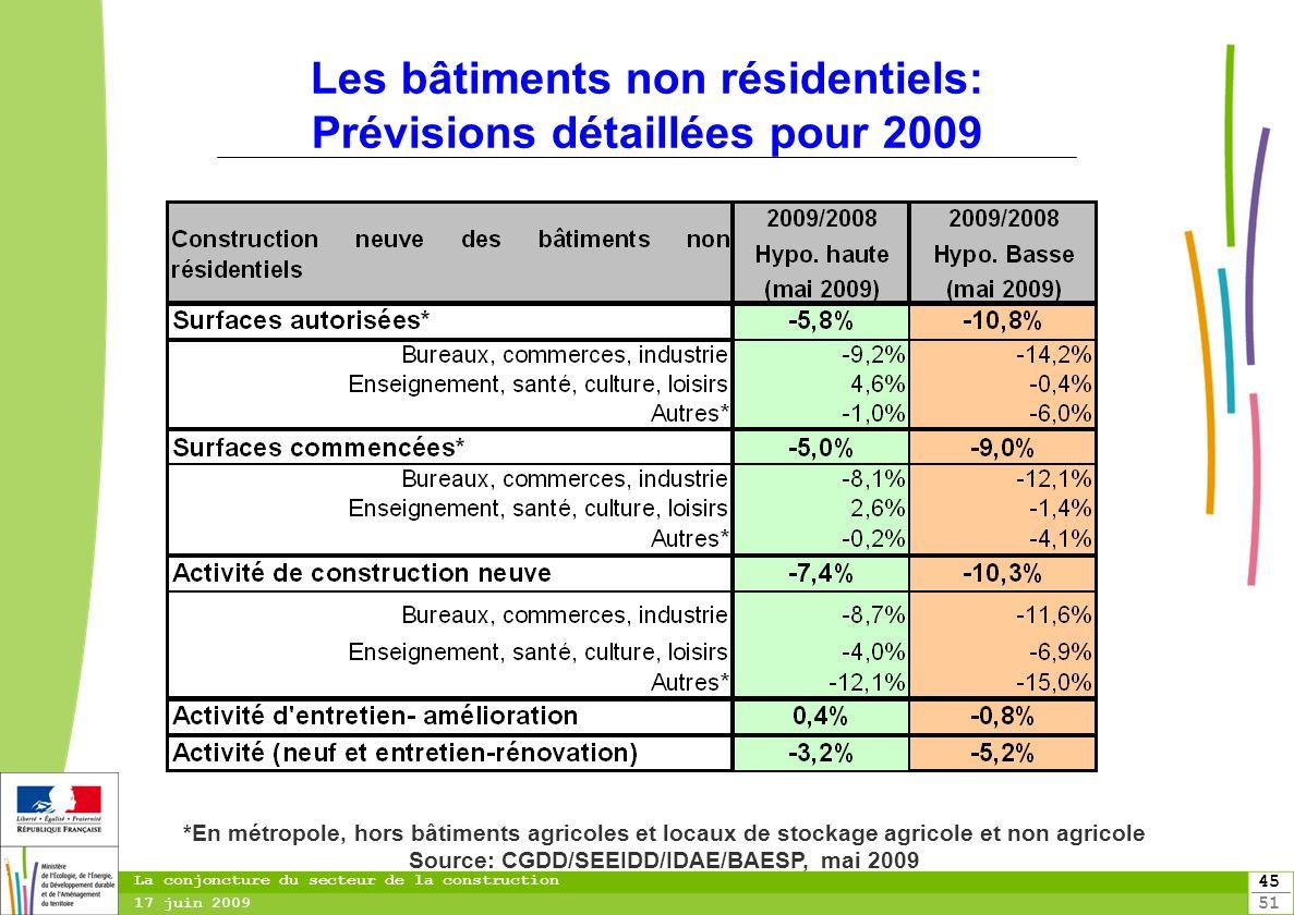 45 51 45 La conjoncture du secteur de la construction 17 juin 2009 Les bâtiments non résidentiels: Prévisions détaillées pour 2009 *En métropole, hors