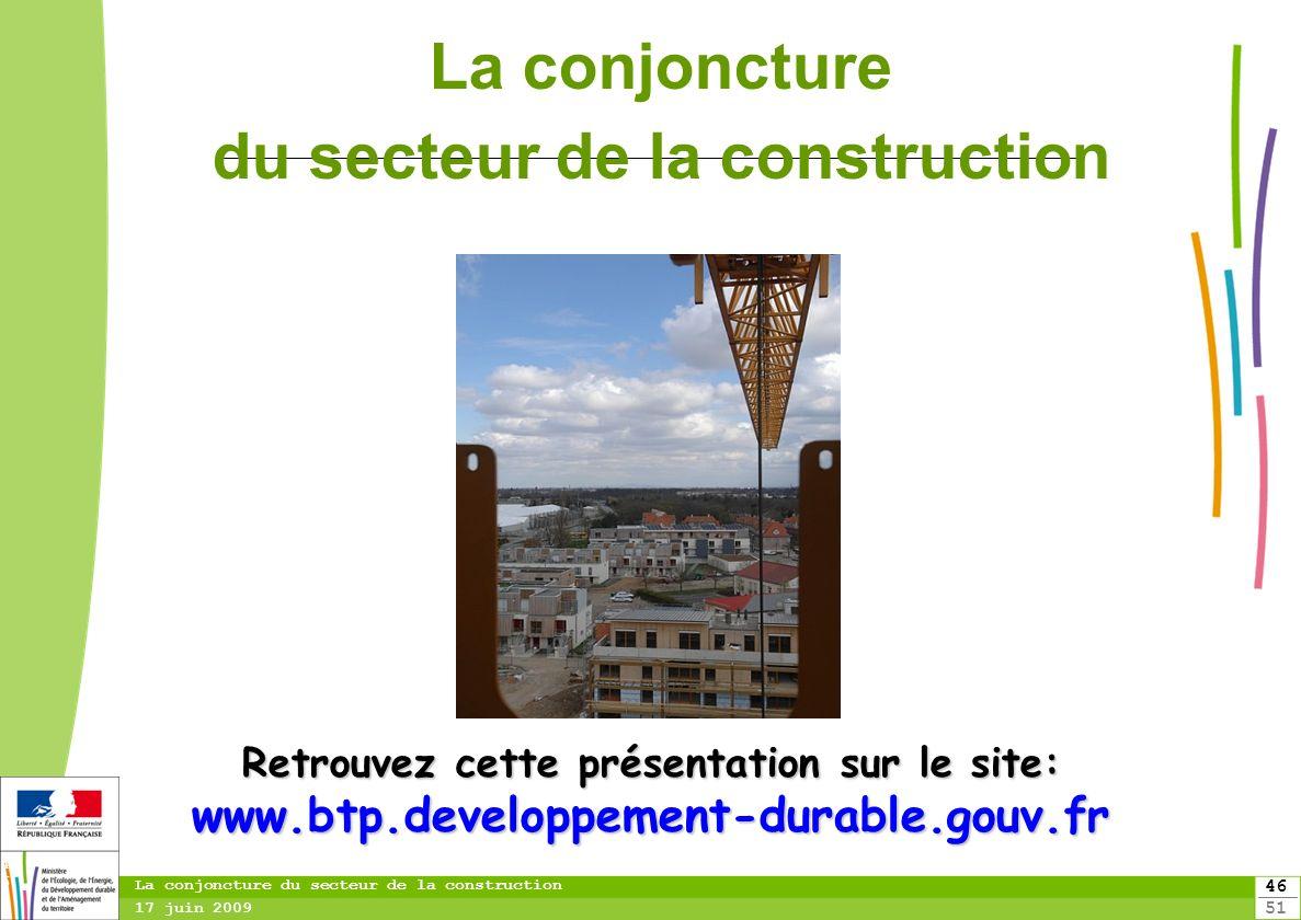 46 51 46 La conjoncture du secteur de la construction 17 juin 2009 Retrouvez cette présentation sur le site: www.btp.developpement-durable.gouv.fr La