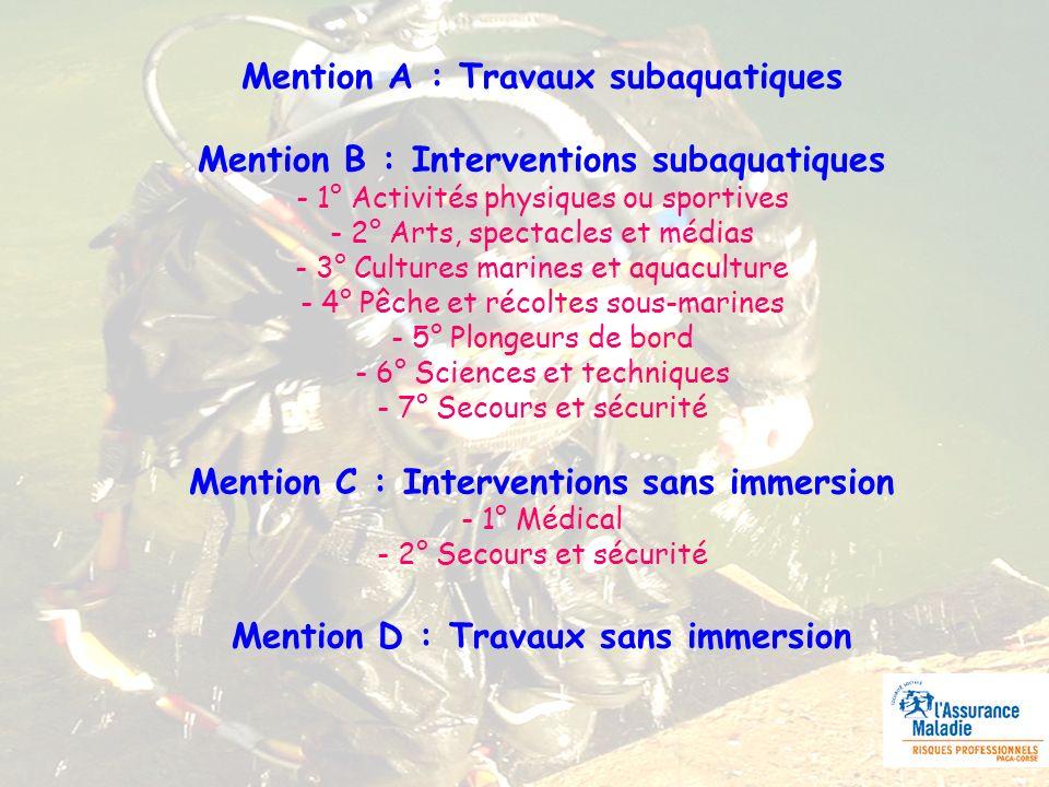 Mention A : Travaux subaquatiques Mention B : Interventions subaquatiques - 1° Activités physiques ou sportives - 2° Arts, spectacles et médias - 3° C