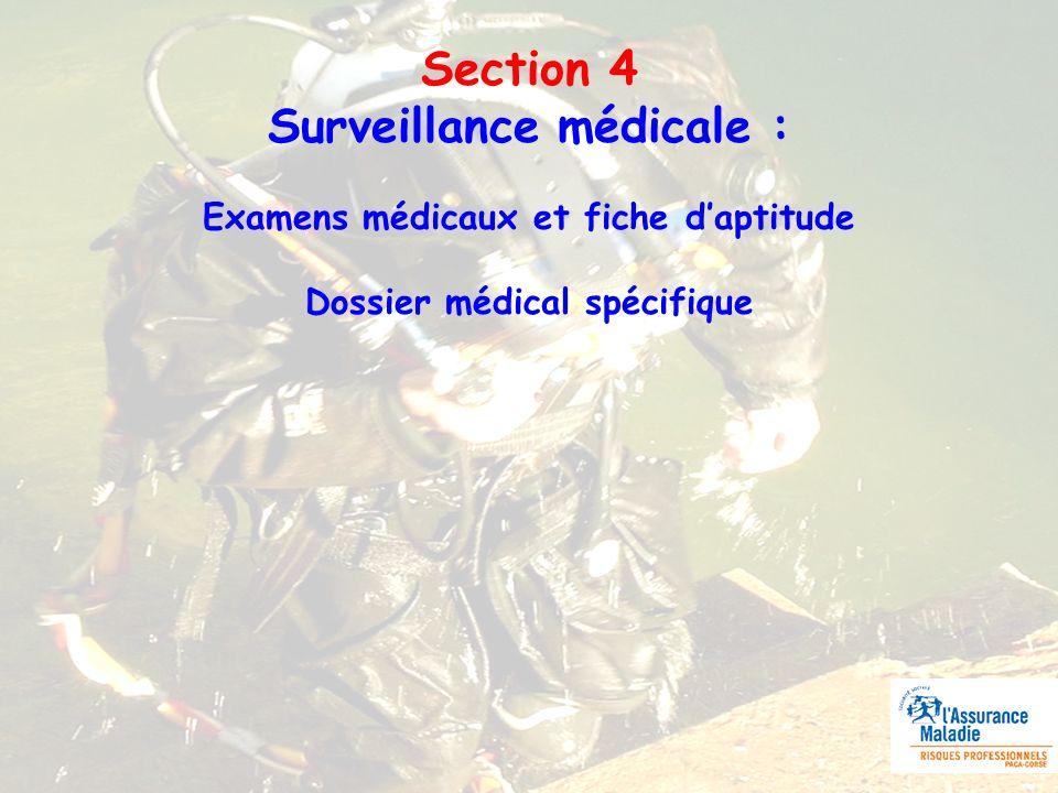 Section 4 Surveillance médicale : Examens médicaux et fiche daptitude Dossier médical spécifique