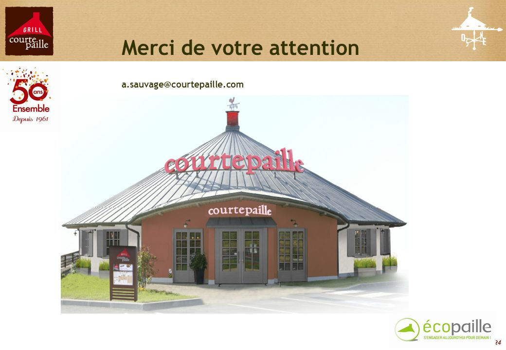 24 Merci de votre attention a.sauvage@courtepaille.com