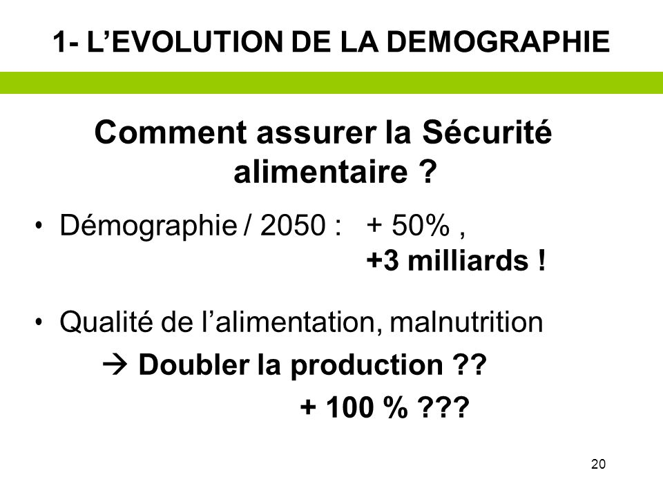 19 1- LEVOLUTION DE LA DEMOGRAPHIE Projection 2025 (Population < 15 ans en 2000)