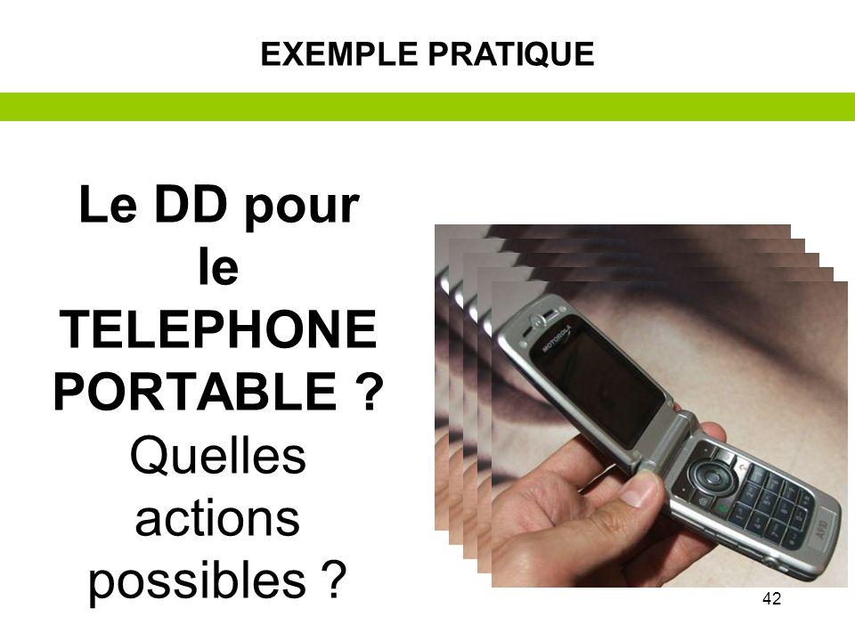 41 –L–Le développement durable : objectifs et actions –E–Exemple pratique avec le téléphone portable –E–Et moi ? –E–Et mon établissement ? –E–Et local