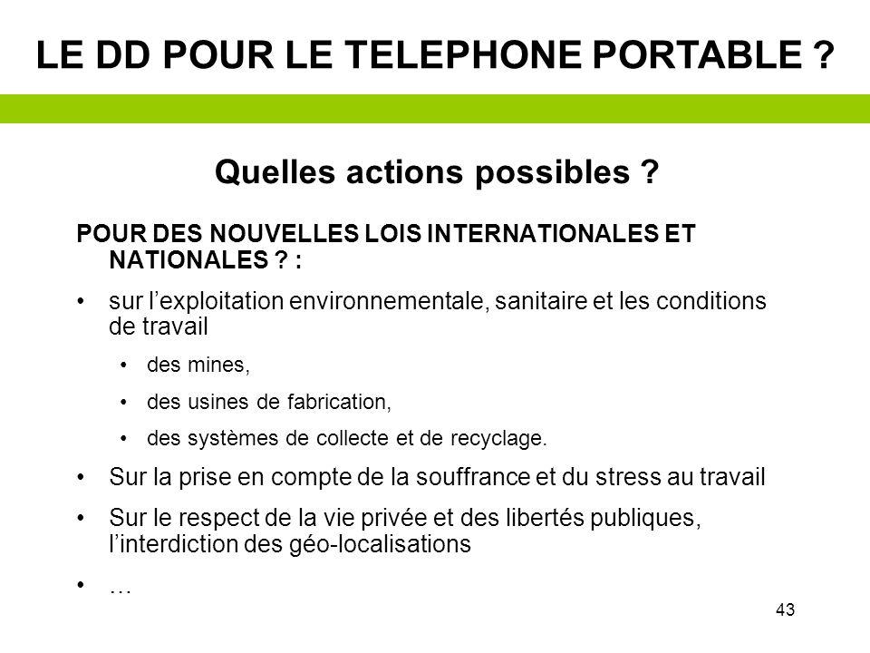 42 Le DD pour le TELEPHONE PORTABLE ? Quelles actions possibles ? EXEMPLE PRATIQUE
