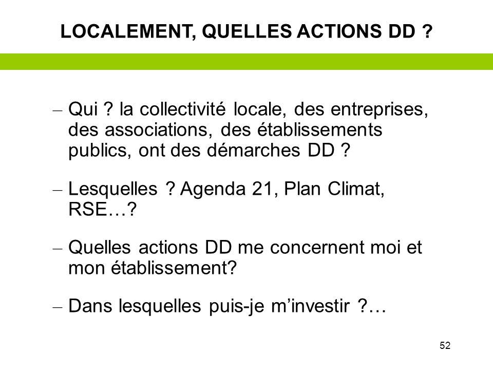 51 –L–Le développement durable : objectifs et actions –E–Exemple pratique avec le téléphone portable –E–Et moi ? –E–Et mon établissement ? –E–Et local