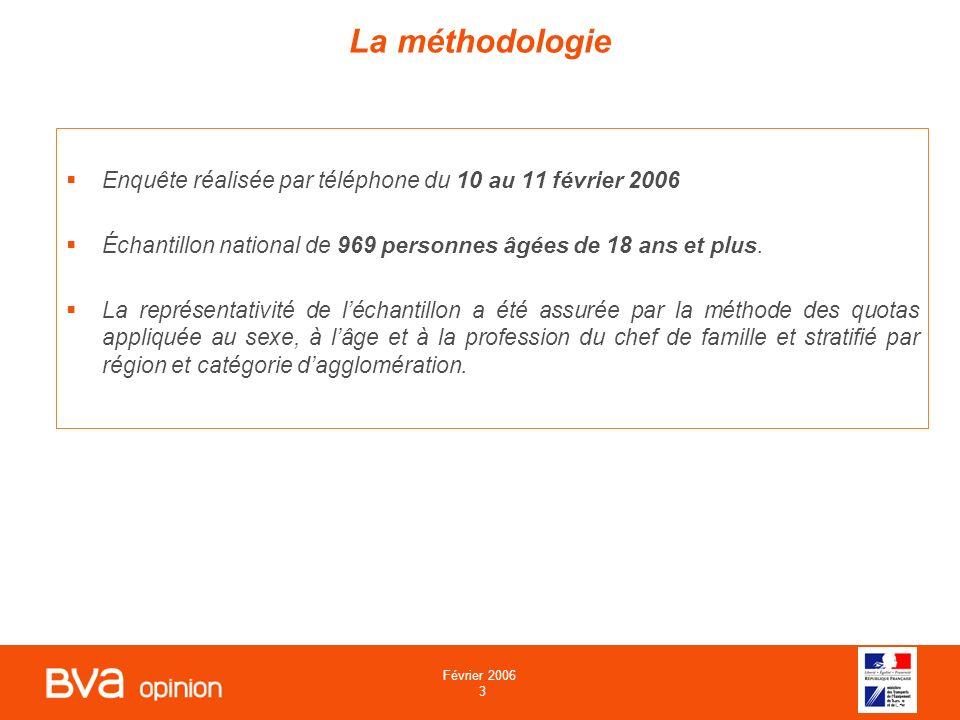 Février 2006 3 3 La méthodologie Enquête réalisée par téléphone du 10 au 11 février 2006 Échantillon national de 969 personnes âgées de 18 ans et plus.