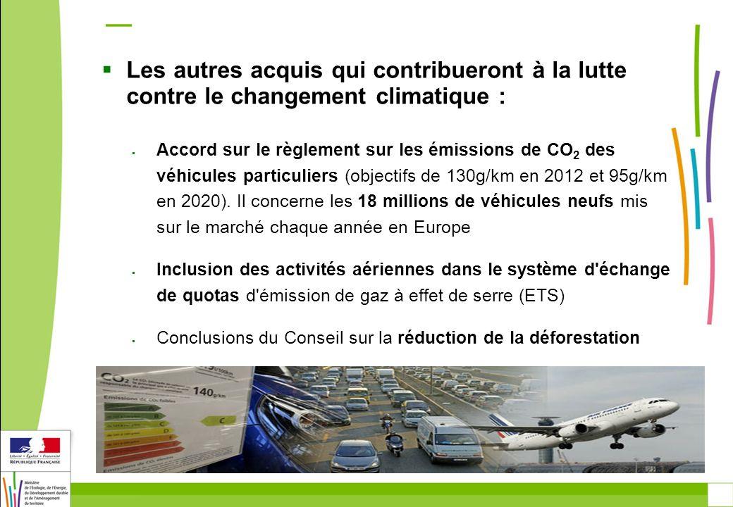 Les autres acquis qui contribueront à la lutte contre le changement climatique : Accord sur le règlement sur les émissions de CO 2 des véhicules particuliers (objectifs de 130g/km en 2012 et 95g/km en 2020).