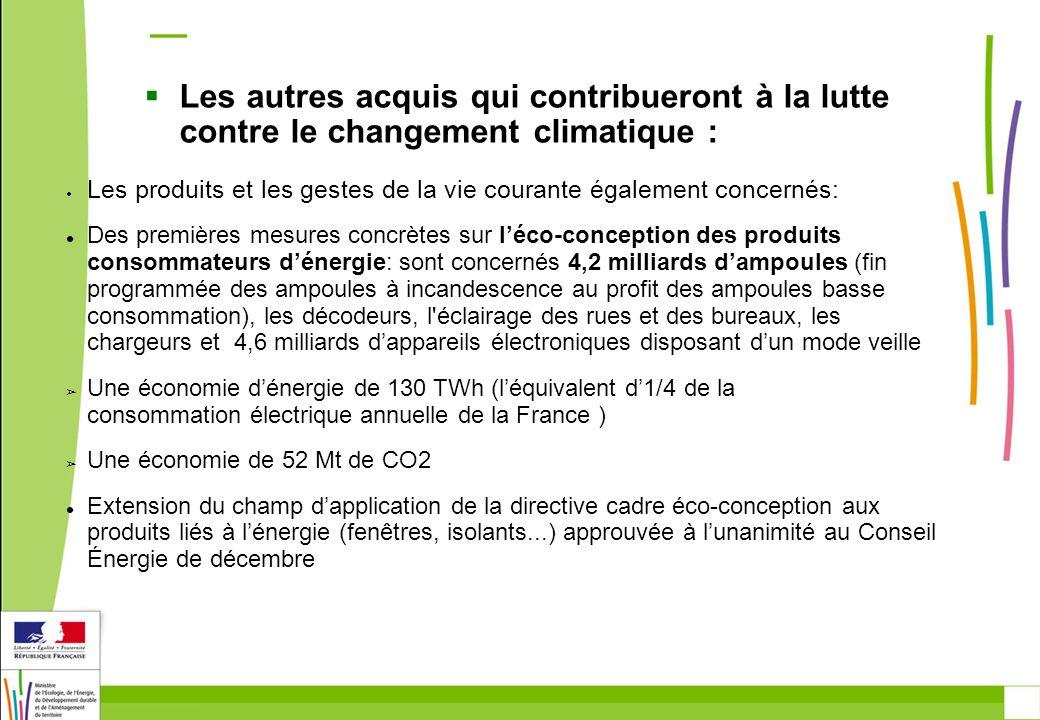 Les autres acquis qui contribueront à la lutte contre le changement climatique : Les produits et les gestes de la vie courante également concernés: De