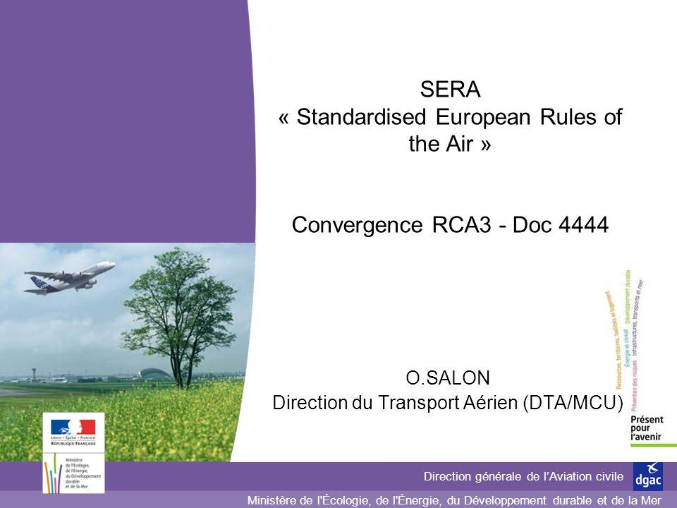 2 2 2 Direction générale de lAviation civile Direction du Transport aérien (DTA) Arrêté 3 mars 2006 (A1) : règles de lair (RDA) Principaux textes « circulation aérienne » Annexe 2 : règles de lair Annexe 11 : services de la circulation aérienne Doc 4444 : Gestion du trafic aérien Textes OACITextes FR (RCA) Arrêté 3 mars 2006 (A2) : services de la circulation aérienne (SCA) Arrêté du 6 juillet 1992: Procédures pour les organismes de la CA (RCA3)