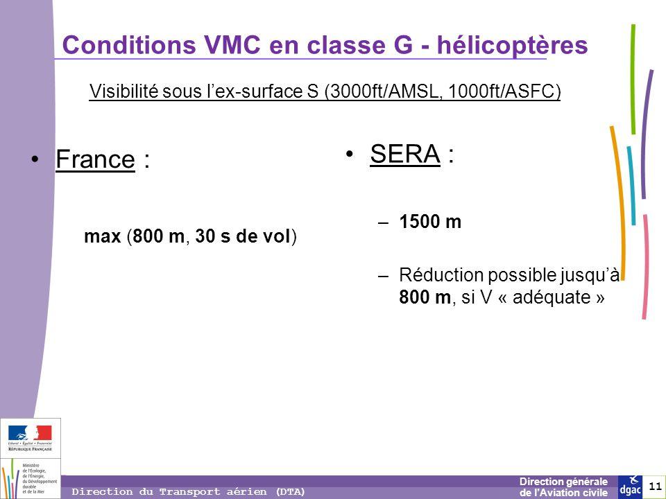 11 1 Direction générale de lAviation civile Direction du Transport aérien (DTA) Conditions VMC en classe G - hélicoptères France : max (800 m, 30 s de