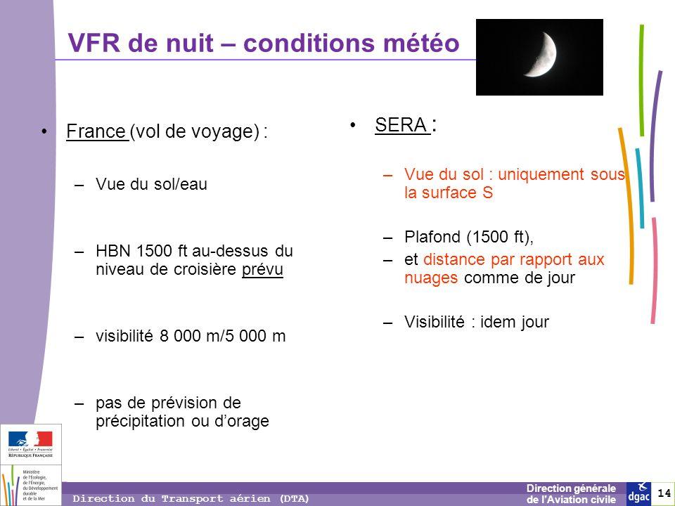 14 1414 Direction générale de lAviation civile Direction du Transport aérien (DTA) France (vol de voyage) : –Vue du sol/eau –HBN 1500 ft au-dessus du
