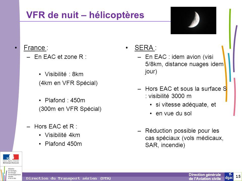 15 1515 Direction générale de lAviation civile Direction du Transport aérien (DTA) VFR de nuit – hélicoptères France : –En EAC et zone R : Visibilité