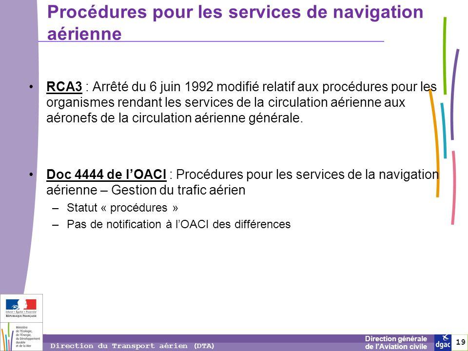 19 1919 Direction générale de lAviation civile Direction du Transport aérien (DTA) RCA3 : Arrêté du 6 juin 1992 modifié relatif aux procédures pour le