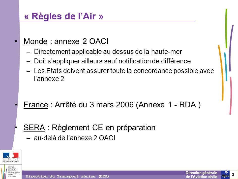 4 4 4 Direction générale de lAviation civile Direction du Transport aérien (DTA) Pourquoi SERA .