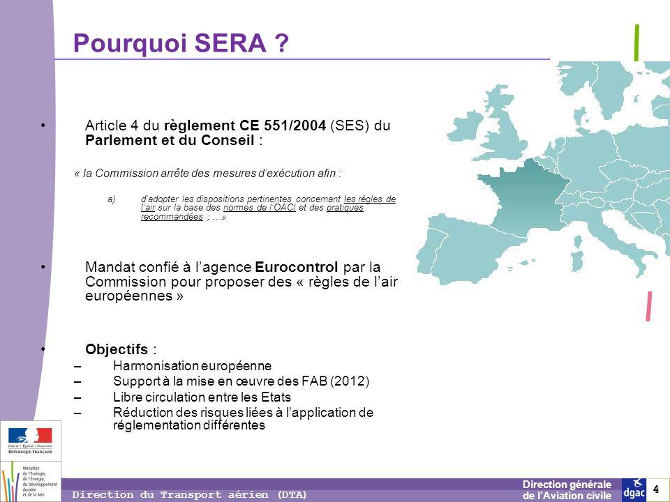 15 1515 Direction générale de lAviation civile Direction du Transport aérien (DTA) VFR de nuit – hélicoptères France : –En EAC et zone R : Visibilité : 8km (4km en VFR Spécial) Plafond : 450m (300m en VFR Spécial) –Hors EAC et R : Visibilité 4km Plafond 450m SERA : –En EAC : idem avion (visi 5/8km, distance nuages idem jour) –Hors EAC et sous la surface S : visibilité 3000 m si vitesse adéquate, et en vue du sol –Réduction possible pour les cas spéciaux (vols médicaux, SAR, incendie)