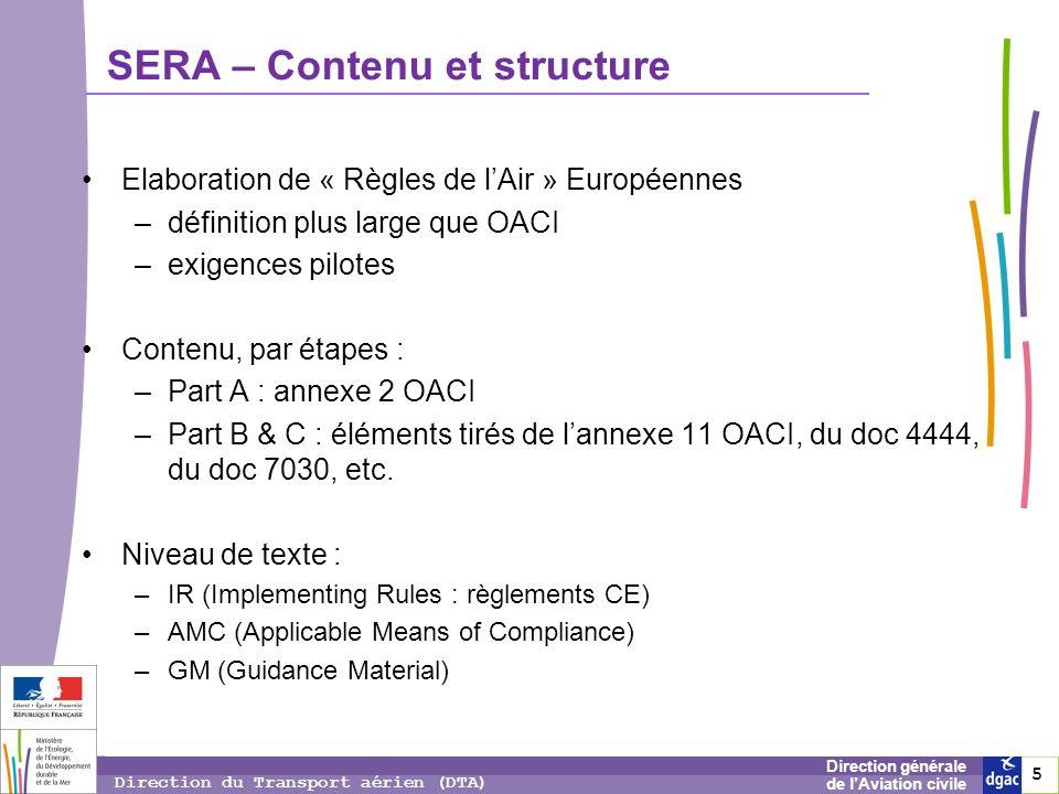 5 5 5 Direction générale de lAviation civile Direction du Transport aérien (DTA) Elaboration de « Règles de lAir » Européennes –définition plus large