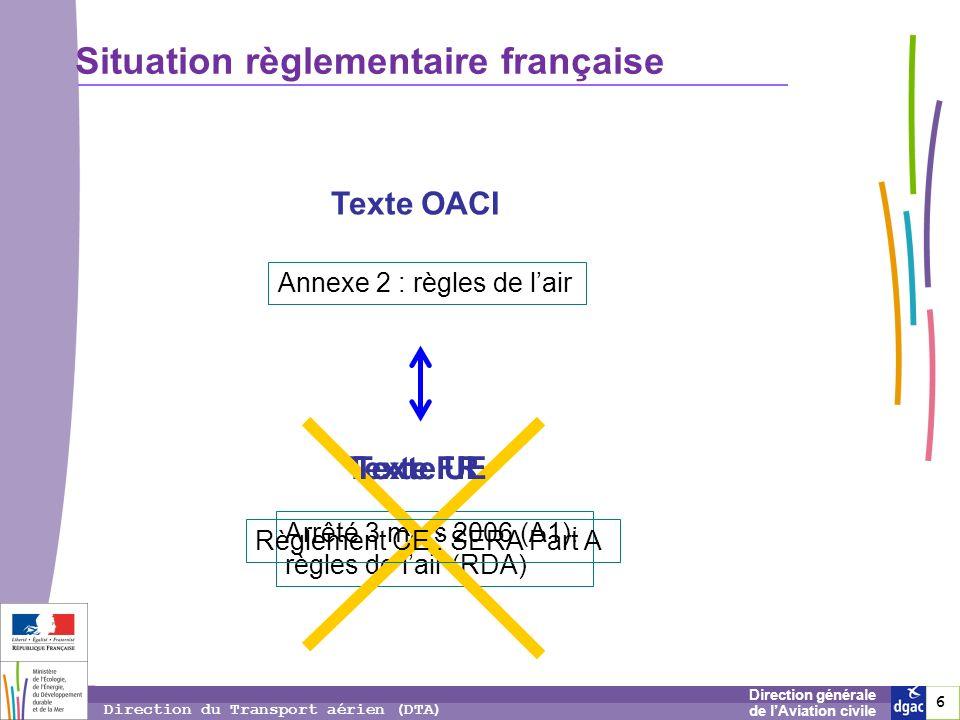 6 6 6 Direction générale de lAviation civile Direction du Transport aérien (DTA) Situation règlementaire française Annexe 2 : règles de lair Arrêté 3