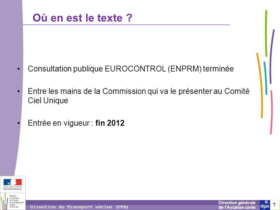 7 7 7 Direction générale de lAviation civile Direction du Transport aérien (DTA) Où en est le texte ? Consultation publique EUROCONTROL (ENPRM) termin
