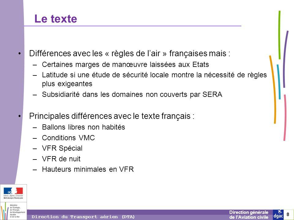 8 8 8 Direction générale de lAviation civile Direction du Transport aérien (DTA) Le texte Différences avec les « règles de lair » françaises mais : –C