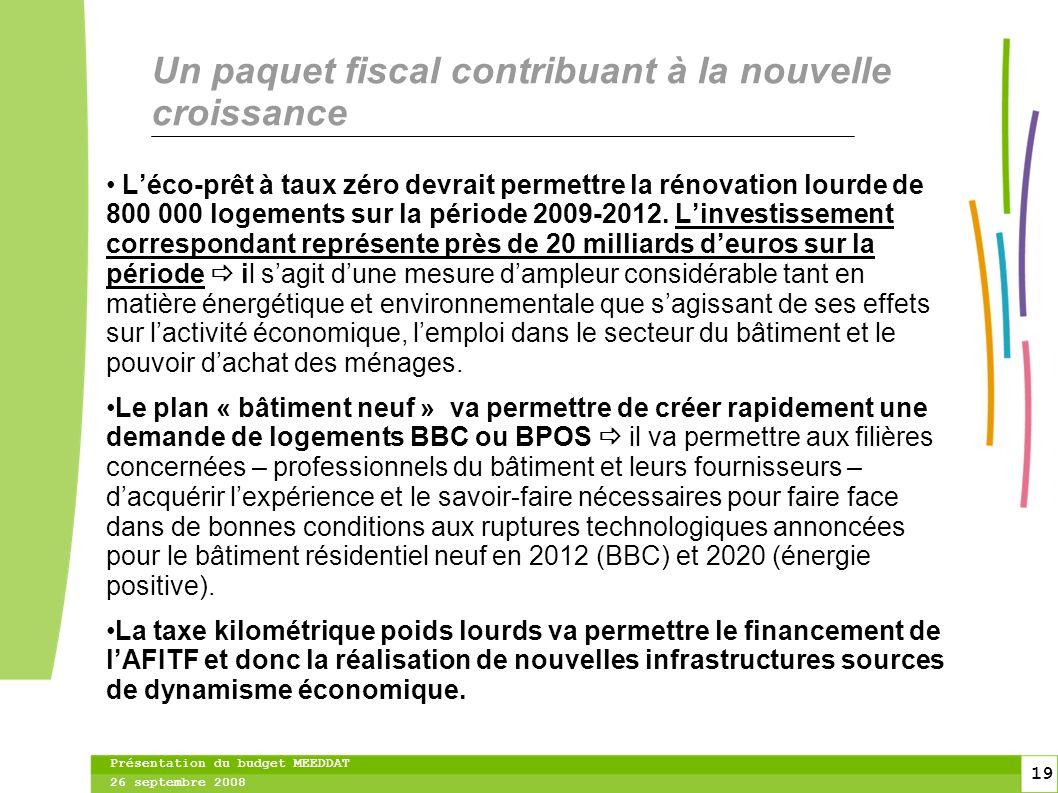 19 19 Présentation du budget MEEDDAT 26 septembre 2008 Un paquet fiscal contribuant à la nouvelle croissance Léco-prêt à taux zéro devrait permettre la rénovation lourde de 800 000 logements sur la période 2009-2012.