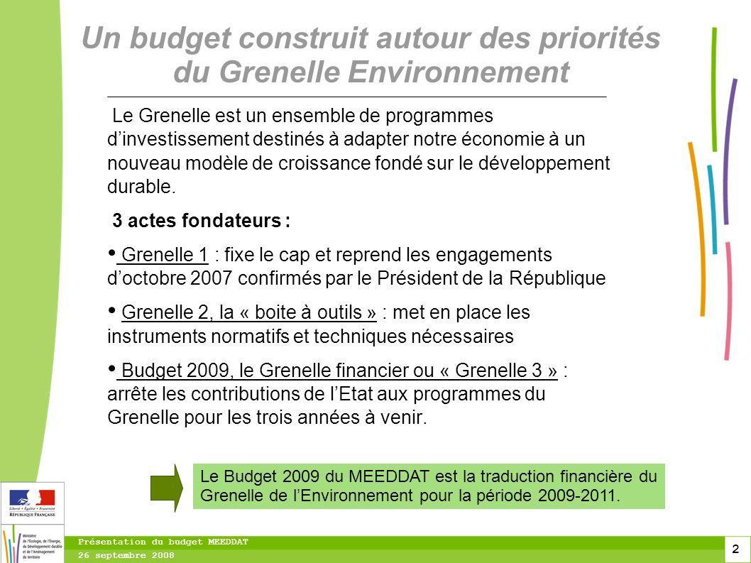 2 2 2 Présentation du budget MEEDDAT 26 septembre 2008 Le Grenelle est un ensemble de programmes dinvestissement destinés à adapter notre économie à un nouveau modèle de croissance fondé sur le développement durable.
