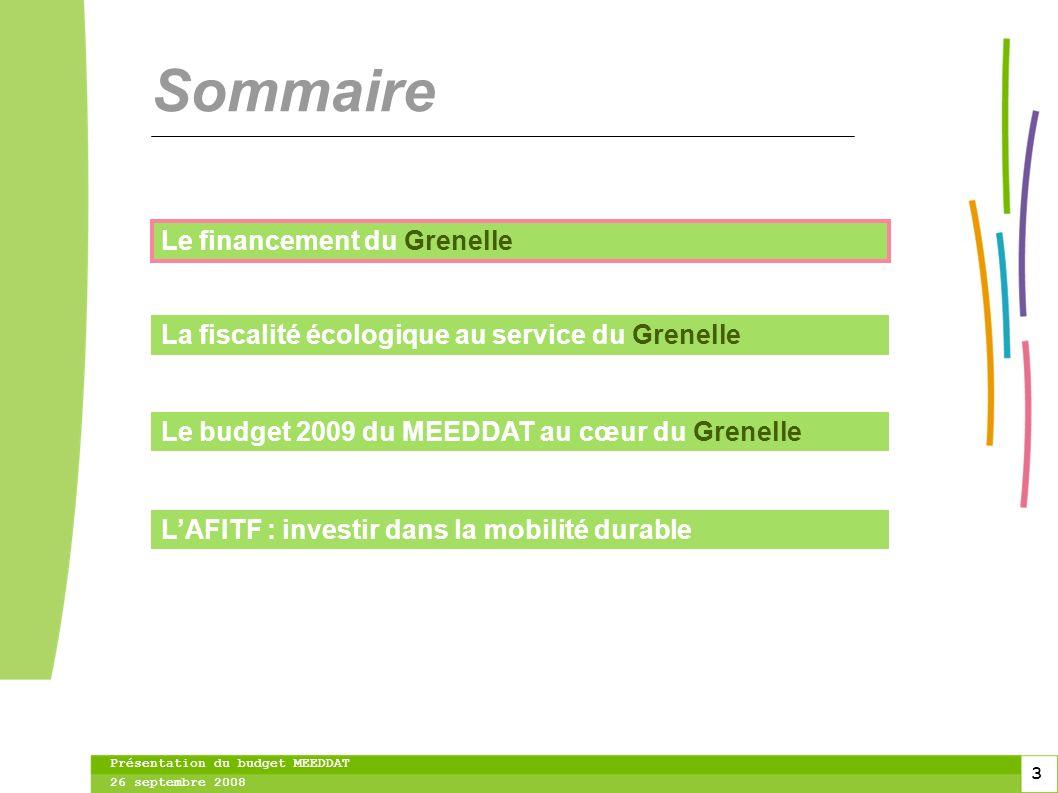 3 3 3 Présentation du budget MEEDDAT 26 septembre 2008 Sommaire Le financement du Grenelle La fiscalité écologique au service du Grenelle Le budget 2009 du MEEDDAT au cœur du Grenelle LAFITF : investir dans la mobilité durable