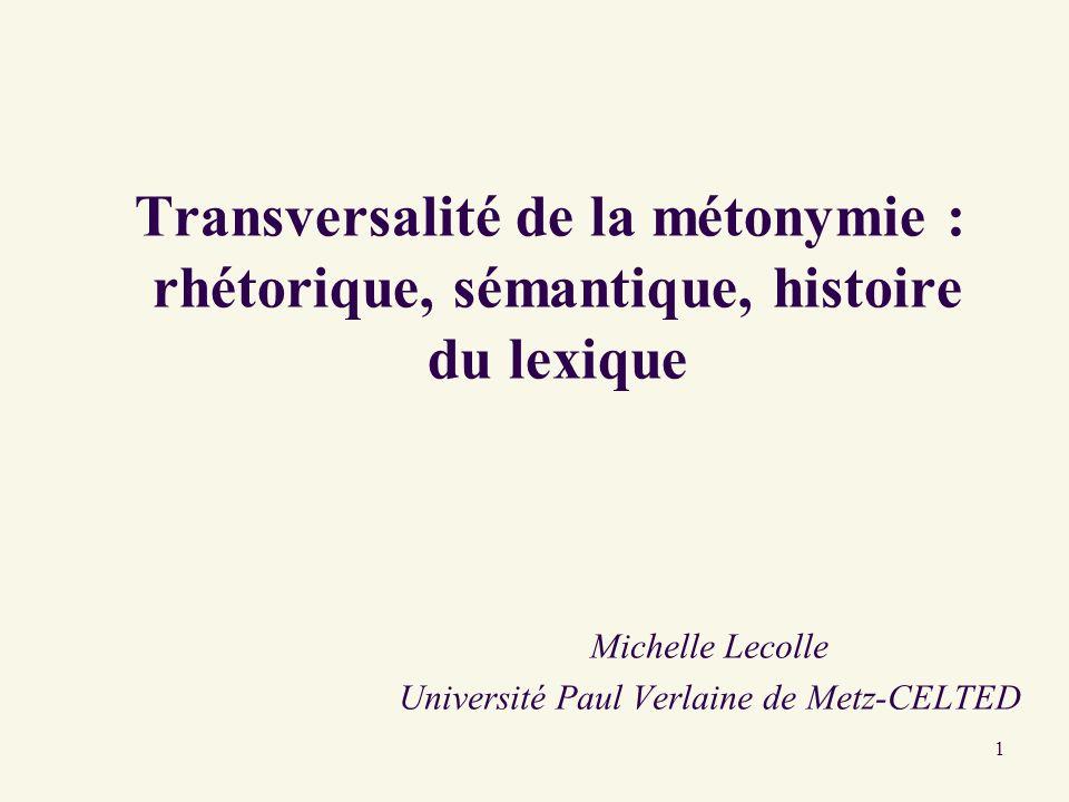 1 Transversalité de la métonymie : rhétorique, sémantique, histoire du lexique Michelle Lecolle Université Paul Verlaine de Metz-CELTED
