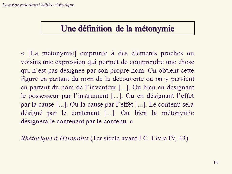 14 Une définition de la métonymie « [La métonymie] emprunte à des éléments proches ou voisins une expression qui permet de comprendre une chose qui nest pas désignée par son propre nom.