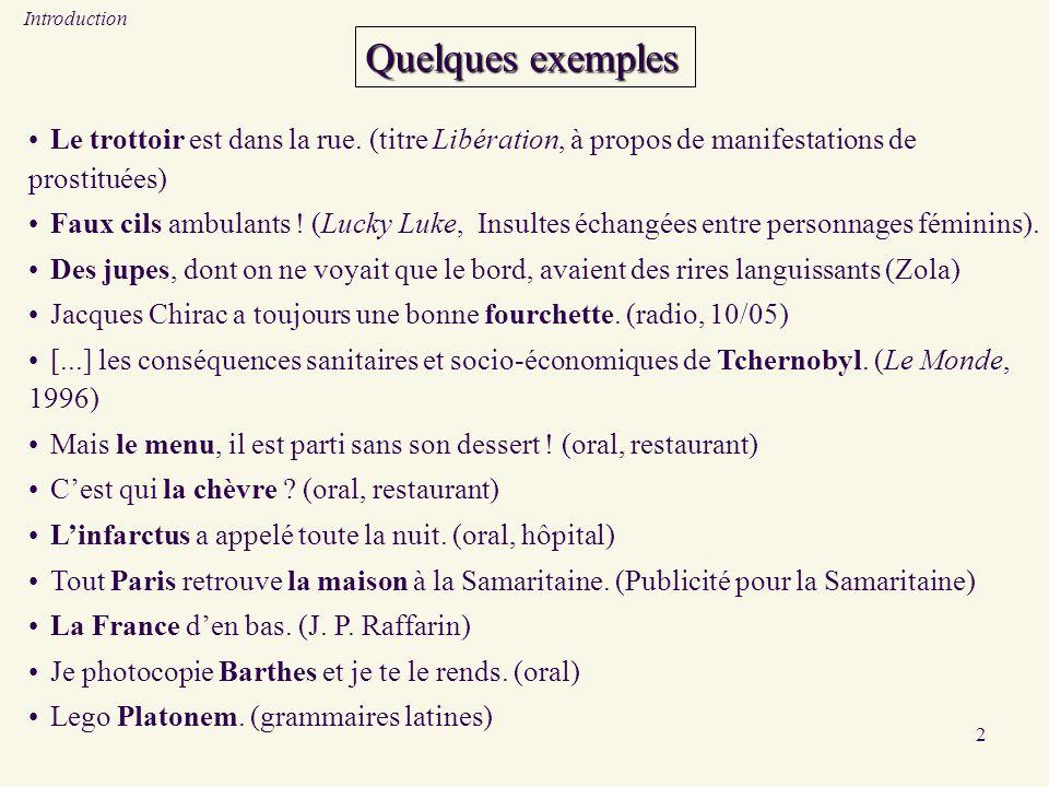 2 Quelques exemples Le trottoir est dans la rue. (titre Libération, à propos de manifestations de prostituées) Faux cils ambulants ! (Lucky Luke, Insu