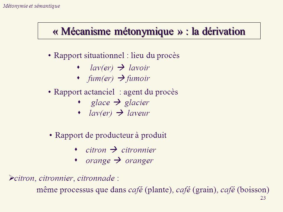 23 « Mécanisme métonymique » : la dérivation citron citronnier orange oranger Rapport de producteur à produit Rapport situationnel : lieu du procès la