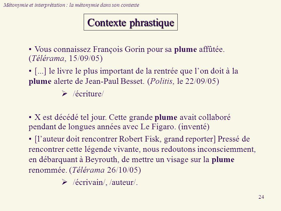 24 Métonymie et interprétation : la métonymie dans son contexte Vous connaissez François Gorin pour sa plume affûtée. (Télérama, 15/09/05) [...] le li
