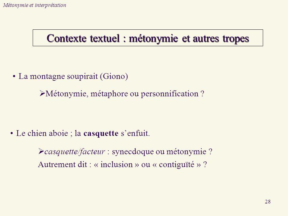 28 Contexte textuel : métonymie et autres tropes Métonymie et interprétation Métonymie, métaphore ou personnification ? casquette/facteur : synecdoque
