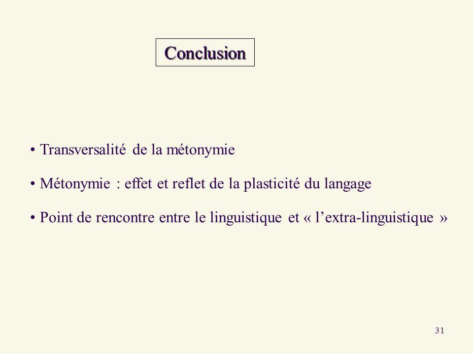 31 Conclusion Transversalité de la métonymie Métonymie : effet et reflet de la plasticité du langage Point de rencontre entre le linguistique et « lex