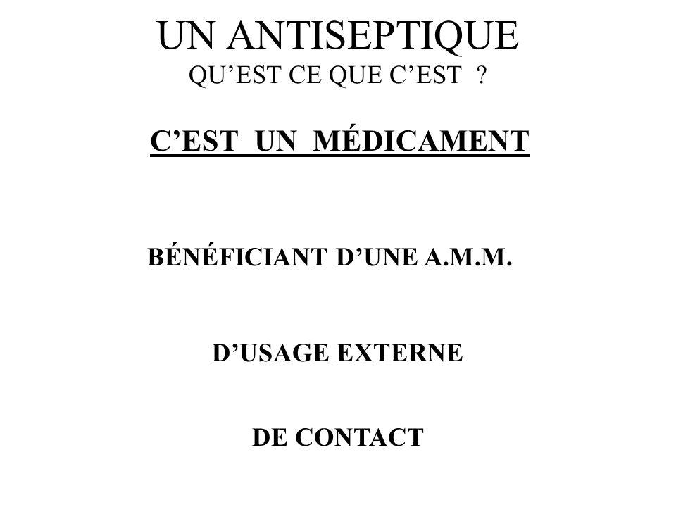 UN ANTISEPTIQUE QUEST CE QUE CEST ? CEST UN MÉDICAMENT DUSAGE EXTERNE DE CONTACT BÉNÉFICIANT DUNE A.M.M.