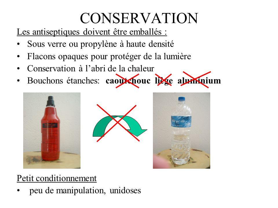 CONSERVATION Les antiseptiques doivent être emballés : Sous verre ou propylène à haute densité Flacons opaques pour protéger de la lumière Conservatio