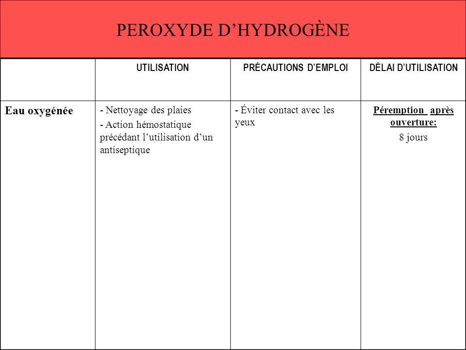 PEROXYDE DHYDROGÈNE UTILISATIONPRÉCAUTIONS DEMPLOIDÉLAI DUTILISATION Eau oxygénée - Nettoyage des plaies - Action hémostatique précédant lutilisation